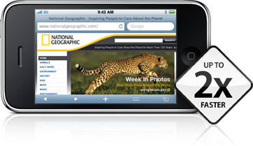 The National Geographic site on iPhone 3GS, with a 2x faster badge.