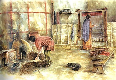 Figure 32. Reconstruction of furnaces and a loom area in a house at Pintia (After Sanz Mínguez and Velasco 2003).
