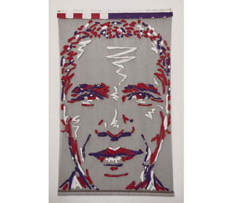 Changing States - President Barack Obama, Single retired American cotton flag woven through nylon mesh 4ft x 6ft by Benjamin Shine