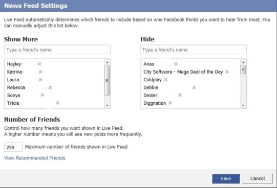 live feed settings
