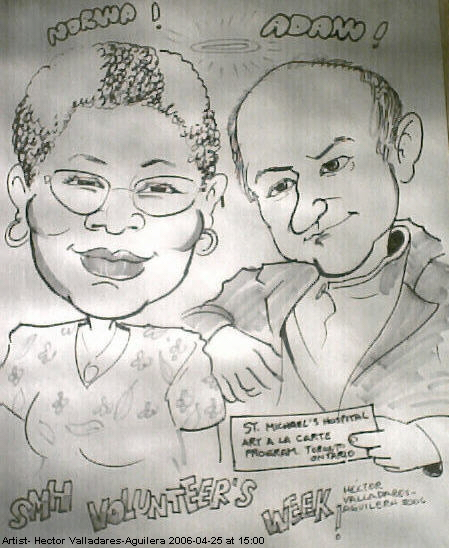 sketch of volunteers Norma Marshall and Adam Lenskyj at St.Michael's Hospital in Toronto.