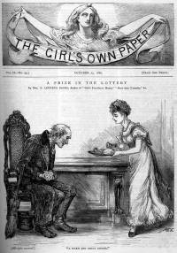 The first page of A PRIZE IN THE LOTTERY, a short story by Mrs Banks, published in the Girl's Own Paper