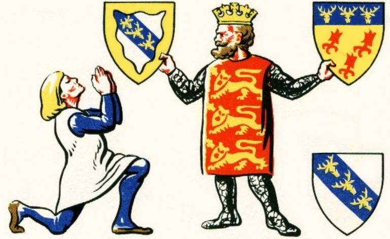Sir John Stanley petitions the Crown for a grant of arms