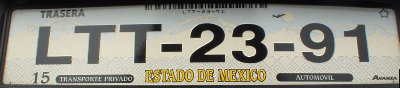 State of México plate, European size