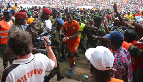 Didier Drogba following the Ivory Coast national soccer team's 5-0 victory over Madagascar.