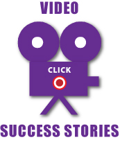 Video Success Stories: graphic of camera with a click button