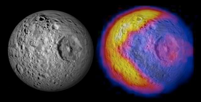 This figure illustrates the bizarre pattern of daytime temperatures found on Mimas