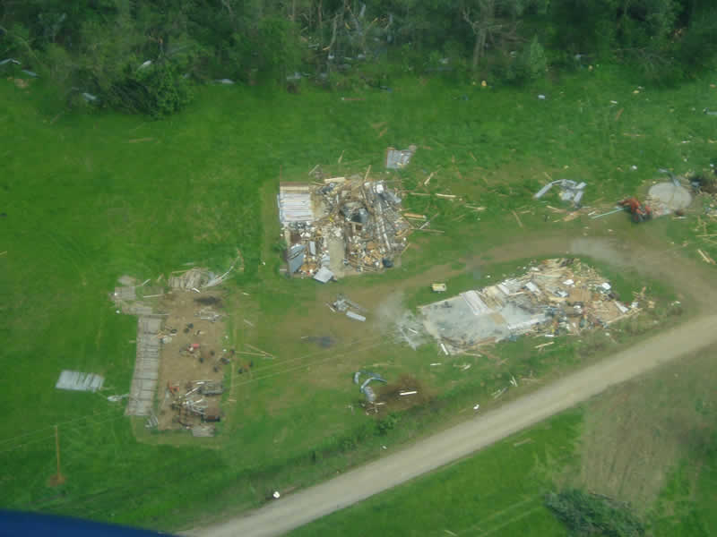 Aerial photo of demolished mobile homes in Massac County, IL