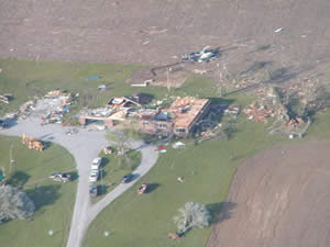 Aerial photo of damage taken by NWS staff