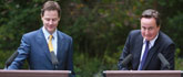 Prime Minister, David Cameron and his Deputy, Nick Clegg hold a press conference in the garden of No.10 Downing Street.