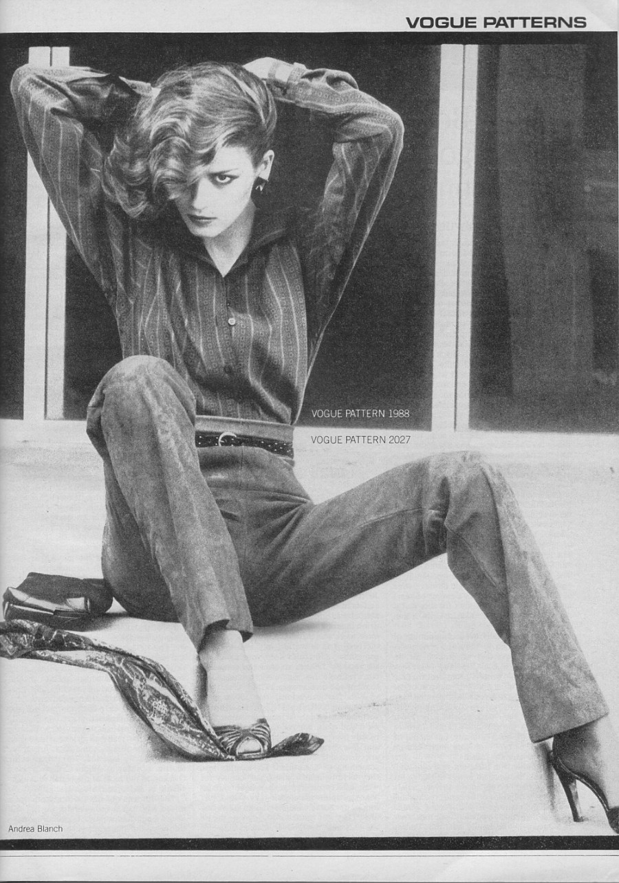 Gia Carangi models Vogue Patterns. Vogue, October 1978. Photo by Andrea Blanch