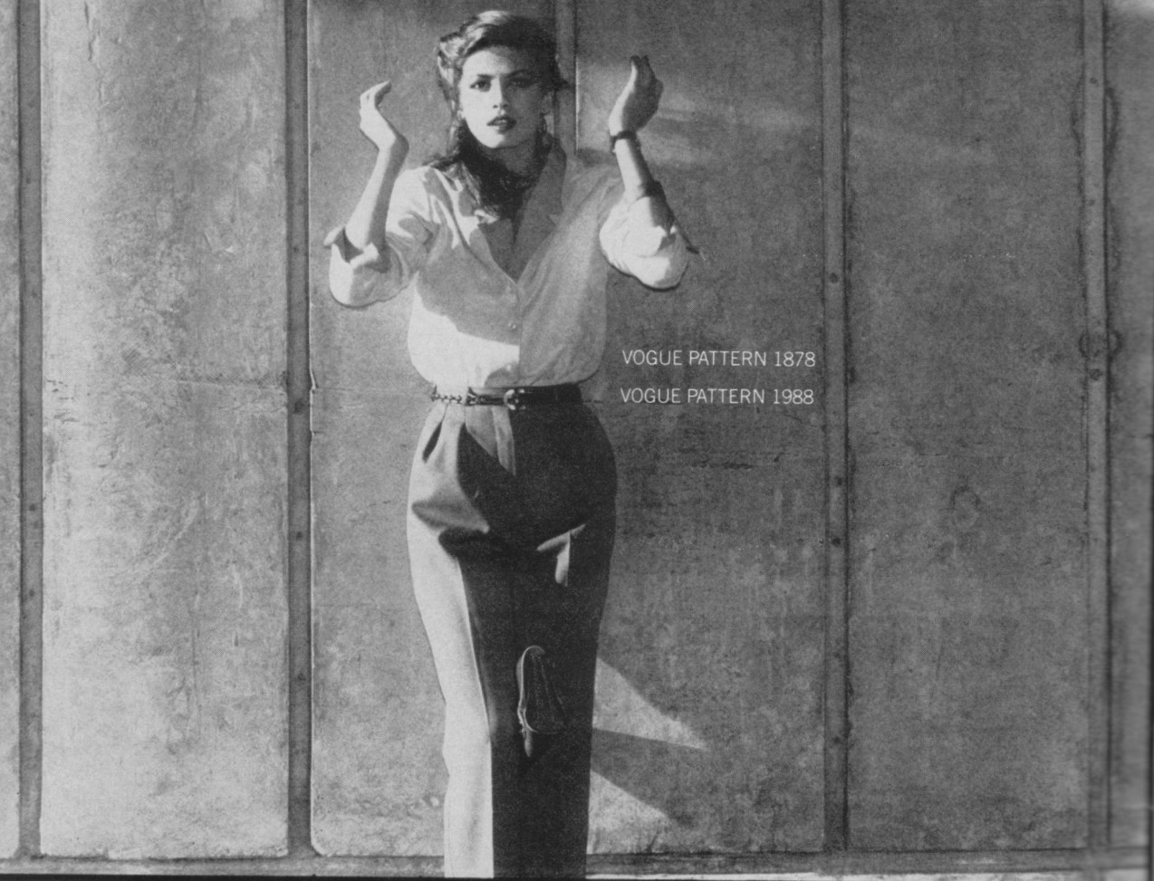 Gia Carangi models Vogue Patterns by Calvin Klein and Yves Saint Laurent. Vogue, October 1978. Photo by Andrea Blanch