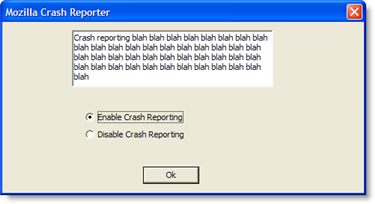 Enable Breakpad dialog