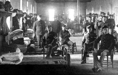 Soldiers of the Eighth Infantry inside barracks at Fort Robinson. NSHS RG1517-119-2