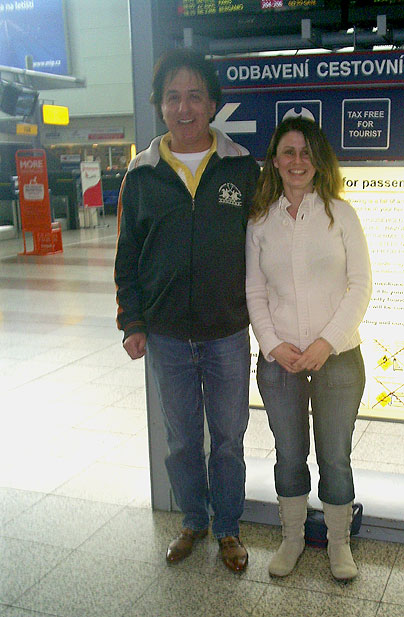 Teresa cusack at the Prague airport with John Babbage