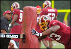 The Redskins practice on Day 5 of training camp at Redskins Park.
