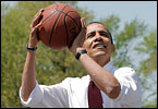 For his 49th birthday, President Barack Obama treated himself to a game of hoops with a team of NBA all-stars. Take a look back at Obama's long love affair with basketball.
