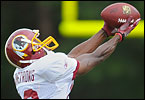 On the eighth day of training camp, the Redskins run through drills.