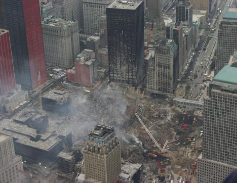An aerial view of the recovery operations underway at the World Trade Center.