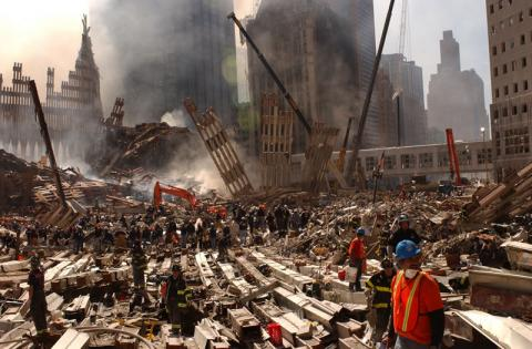 Clean up of the wreckage at the World Trade Center continues.