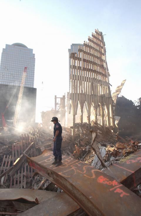 NY Firefighter chief at the site of the World Trade Center.