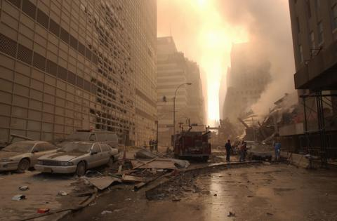 Wreckage litters the streets surrounding the World Trade Center.