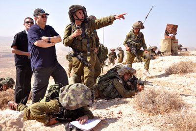 Minister of Defense with Nahal Battalion During a Training Exercise