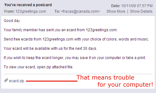 screen cap of a postcard virus attempt sent by email