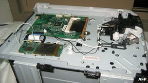 The circuit board on the printer found inside the package intercepted in Dubai
