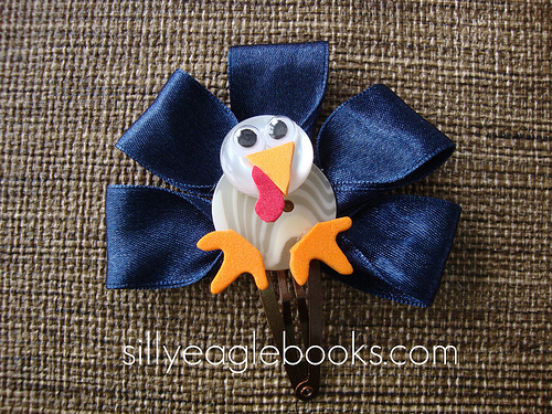 blue turkey hair clip