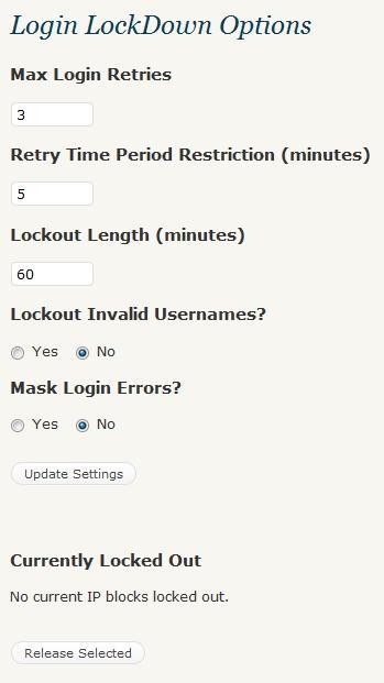 login lockdown options