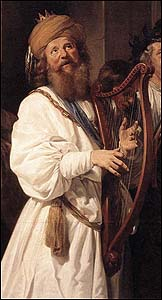 david playing his harp