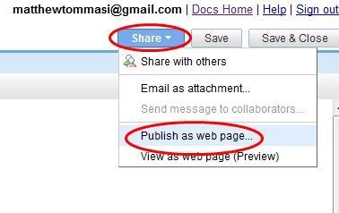 Publish as Web Page
