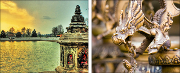 A pond at Bhaktapur's entrance (left) and intricate carvings throughout the village (right). Photo credit - TheDreamSky & Dey.