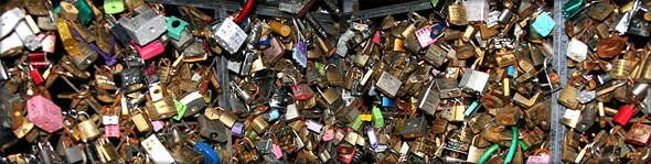 Thousands of locks adorn the fences on the terrace at Seoul Tower. Photo credit - Jinho.Jung