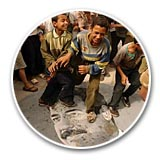 Children Trample Saddam Portrait