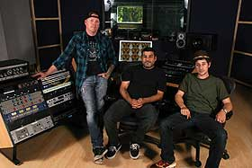 From left: Brian Hood (who handled much of the construction), Jeremy Goody and engineer Gilad Gershoni in Megasonic Sound's control room