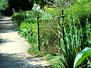 if the gate is a work of art, it can become a valuable accent to upgrade the overall landscape aesthetic