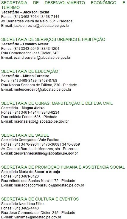 Prefeitura Jaboatão dos Guararapes - Telefones, Endereços - 02