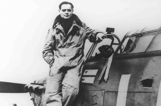 Bader stands on the wing of his Hurricane, as Commanding Officer of No.242 Squadron