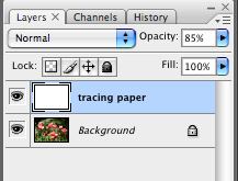 Tracing paper layer is added, opacity set to 85%