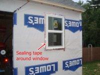 used sealing tape around the window