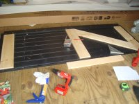 gluing the back bracing on the door