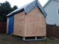 cover shed with plastic tarps