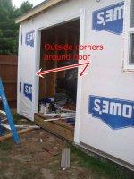 installing outside corner edges around the door