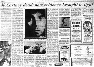 Article from Michigan Daily of 1969, contending that Paul McCartney of the Beatles was dead