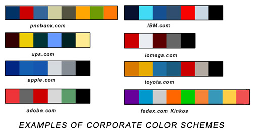 Here are some examples of corporate color schemes on corporate websites