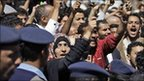 Tawakul Karman, centre, chants slogans along with other protesters in Sanaa, 26 January