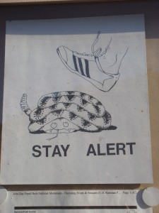 """Stay Alert"" flyer at Clarno Unit. Snakes cower in the face of Adidas tennies."
