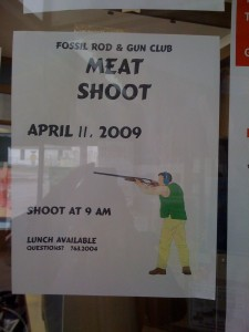 Fossil Rod and Gun Club Meat Shoot flyer at the Fossil Mercantile